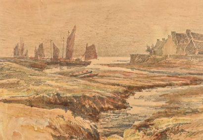 Jules NOEL ( 1810-1881)  Boats on the Coast  Pencil drawing enhanced with watercolor,...