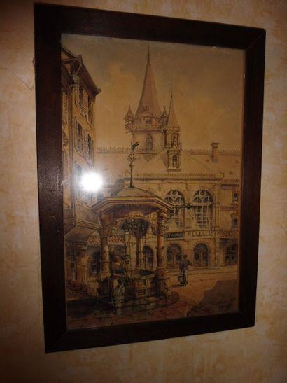 Gustave KRAFFT (1861-1927)  Obernai  Aquarelle signée et située en bas à droite...