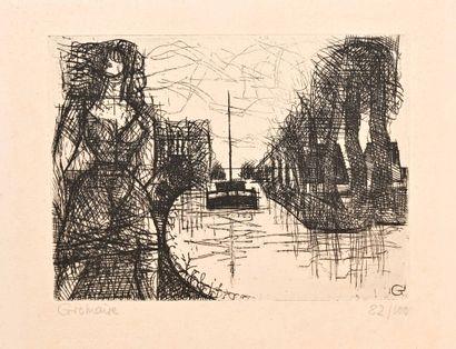 Marcel GROMAIRE (1892-1971)  Le canal. Eau-forte....