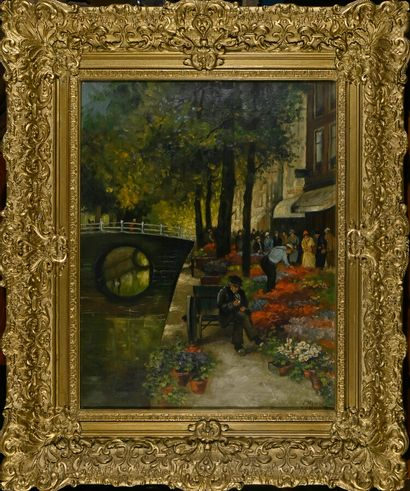French school of the 19th century  Edge of the canal  Oil on canvas signed lower...