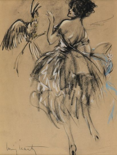 Louis ICART (1888-1950)  Elegant Woman with Parrot  Lithograph enhanced with pastel,...
