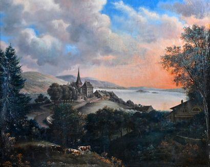 Ecole FRANCAISE du XIXe siècle  Village de...