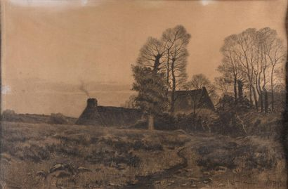 H.O.RYDER***19th century ENGLISH school  Cottage at Dusk  Charcoal drawing, signed...