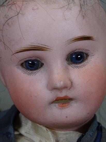 Poupée Bleuette tête biscuit, perruque rapportée en cheveux naturels bruns/gris,...