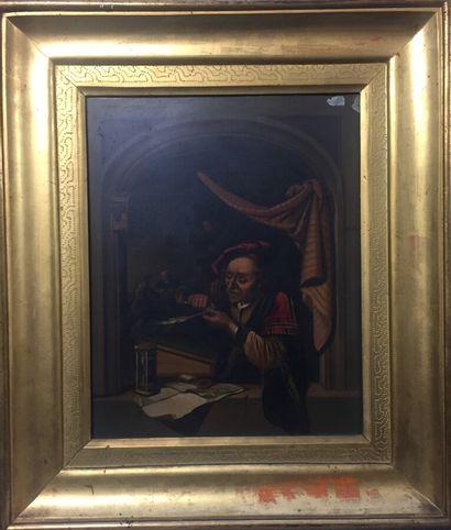 After Gérard DOU (1613 - 1675)  The old schoolmaster...