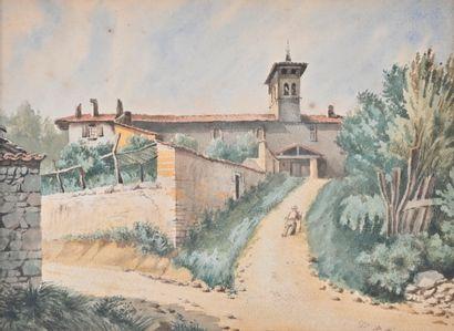 Ecole FRANCAISE début du XXe siècle  Clocher...
