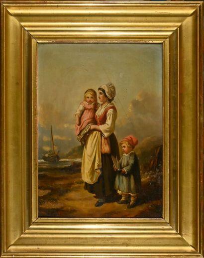 A. FAVROT (XIXe siècle)  La famille du marin  Huile sur toile signée en bas à gauche...
