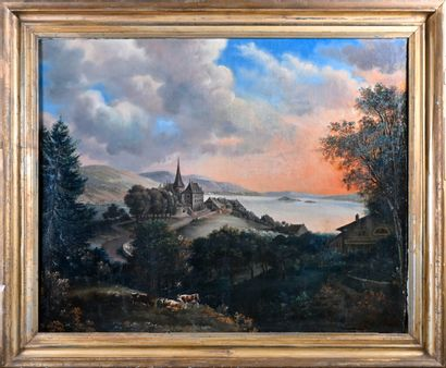 19th century FRENCH SCHOOL  Mountain village by a lake at dusk  Oil on canvas  H....