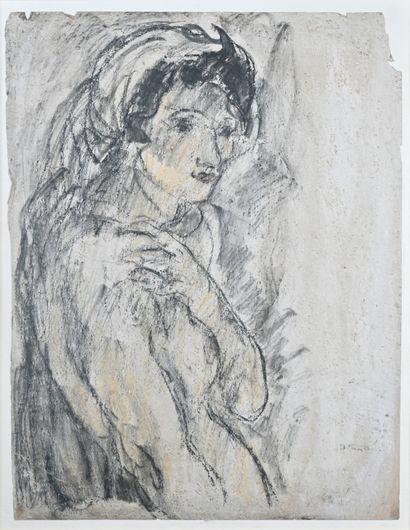 Pierre COMBET-DESCOMBES (1885-1966)  Portrait de femme au fichu blanc  Technique...