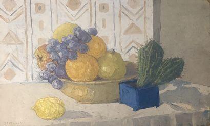 Paulette GENET (1892-1983)  Still life with cactus  Oil on panel signed lower left...