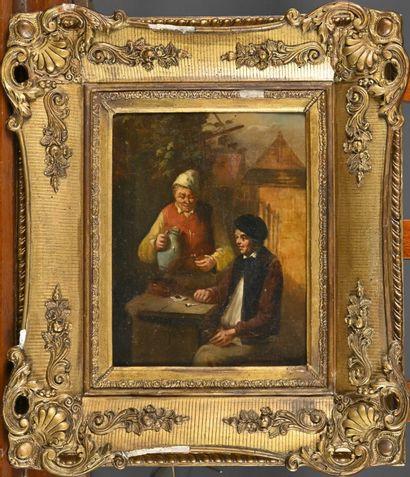 Dutch school of the 19th century  Tavern scene  Oil on panel  H. 30 cm - L. 20 cm...