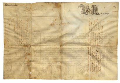 BULLE PONTIFICALE BULLE PONTIFICALE. Parchemin, 38 x 25 cm. 1677. En latin.  Bulle...