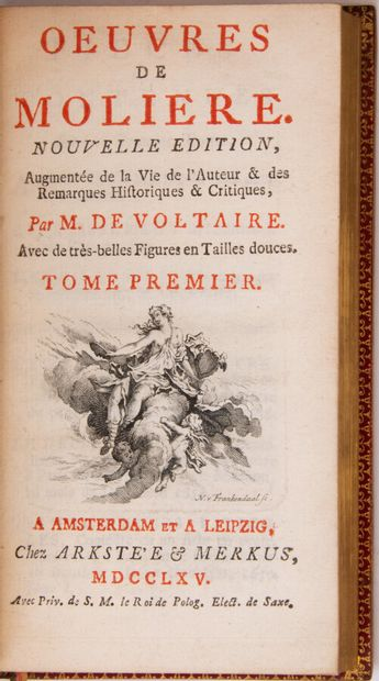 MOLIERE. Works. With beautiful intaglio figures.  Amsterdam and Leipzig, by Arkstée...