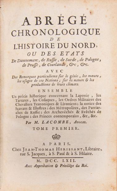 LACOMBE (Jacques). Abrégé chronologique de...