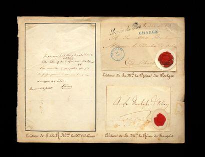 Louis-Philippe LOUIS-PHILIPPE. P.A.S. 1 p. In-8 oblong.  Enveloppe autographe signée...