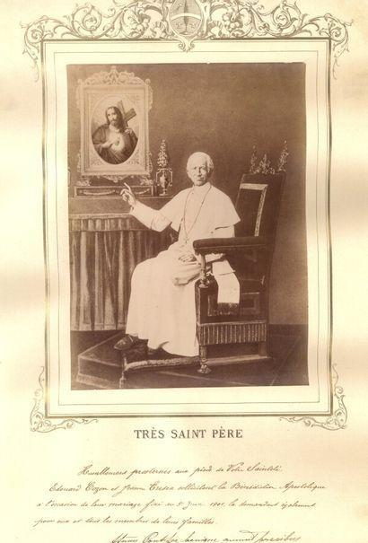 BENEDICTION PAPALE BENEDICTION PAPALE. Grande photo du pape Léon XIII, contrecollée...