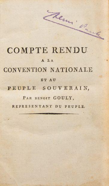 Ain - GOULY (Benoît). Compte rendu à la convention...