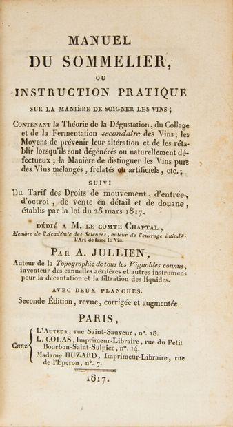 JULLIEN (A.). Manuel du sommelier ou instruction...