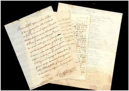 ANCIEN RÉGIME Old regime. 3 letters from the 17th century.  Philippe-Emmanuel de...