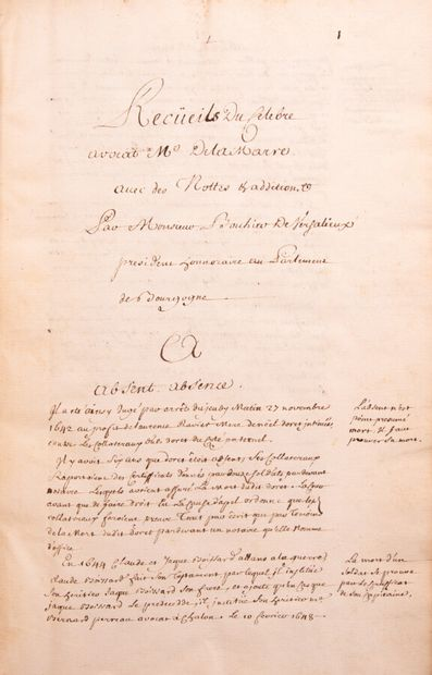 Ain - (Manuscript) - RECUEIL DU CELEBRE AVOCAT Me DELAIMARRE with notes and additions...