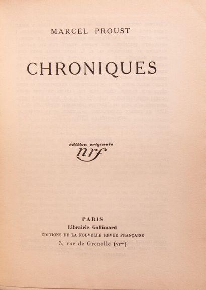 PROUST (M.). Chroniques.  Paris, Gallimard,...