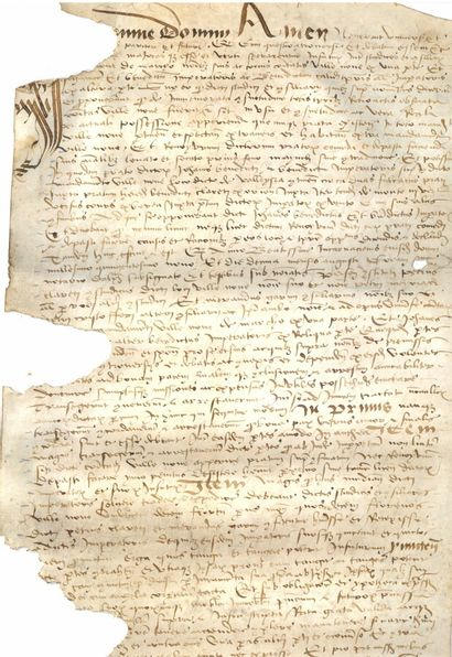 DAUPHINE DAUPHINÉ. Parchment, 72 x 29 cm. The left side heavily eaten away with loss...