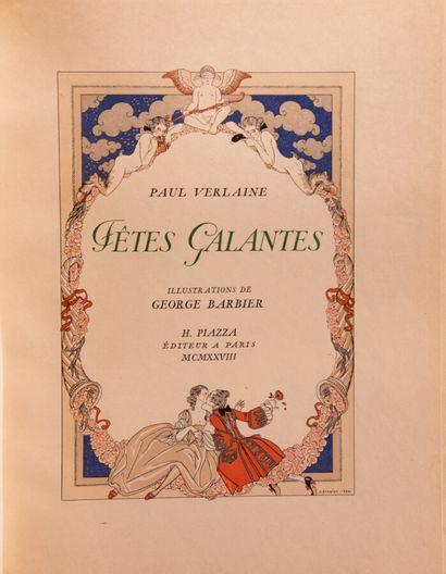 VERLAINE. Fêtes galantes. Illustrations by Georges Barbier.  Paris, Piazza, 1928....