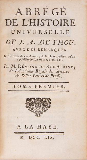 THOU (Jacques-Auguste de). Abrégé de l'Histoire...