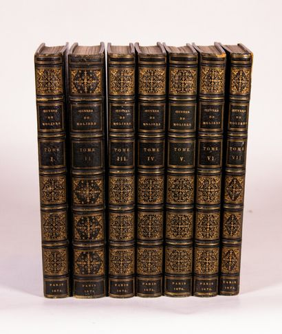 MOLIERE. Les OEuvres.  Paris, Denys Thierry and Claude Barbin, 1674-1675.  7 volumes...