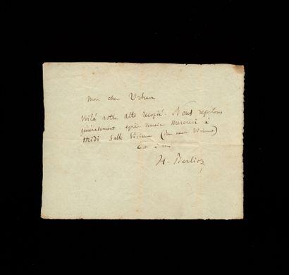Hector BERLIOZ Hector BERLIOZ. L.A.S. au violoniste et compositeur Chrétien Urhan...