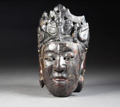 CHINE du Sud - XIXe siècle  Masque en bois...