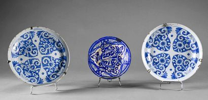 Pair of earthenware plates with white and...