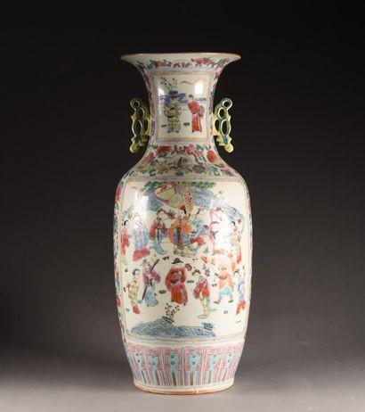 CHINE - XXe siècle  Grand vase balustre en...
