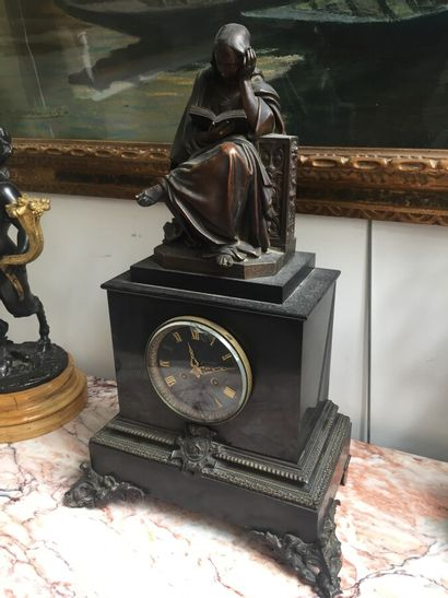 Black marble base clock, the dial signed...
