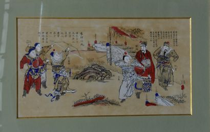 CHINE - Fin du XIXe siècle  Ensemble de trois estampes colorisées  Dimensions à...