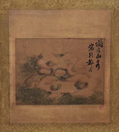 JAPON - Fin d'époque EDO (1603-1868)  Peinture représentant un rocher, signée Sakuto...