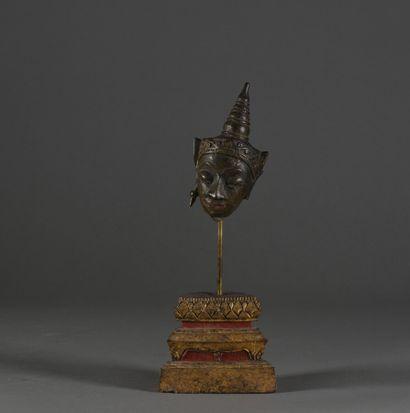 THAILANDE - XIXe siècle  Tête de bouddha,...