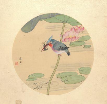 CHINE - XXe siècle  Deux aquarelles sur tissu...