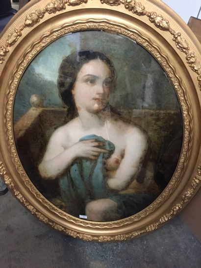 Fixed under glass with a nude woman, oval...