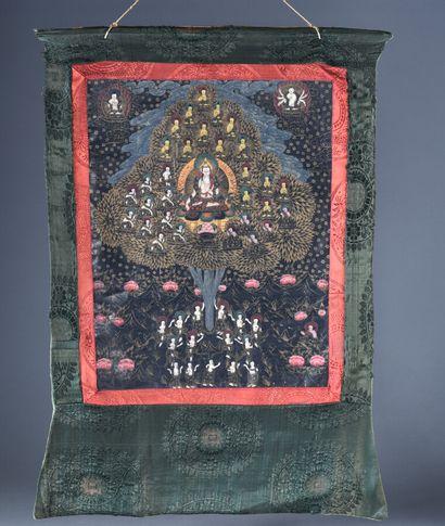 TIBET - XXe siècle  Tanka représentant l'arbre...