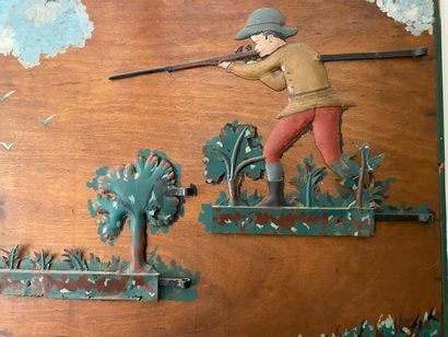 Armoury sign, painted wood and polychrome...