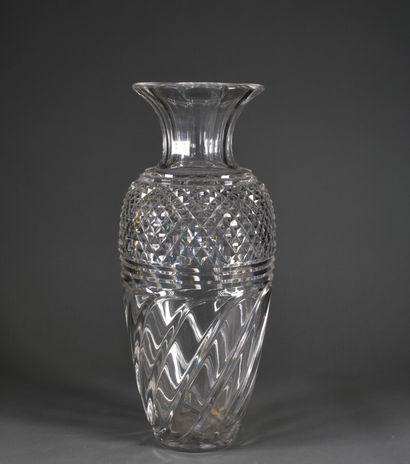 SAINT-LOUIS  A large baluster vase in cut...