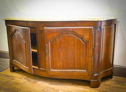 Large moulded walnut sideboard, opening with...