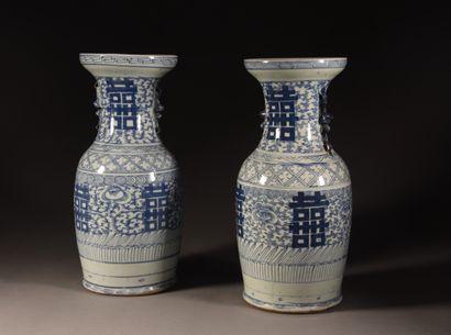 CHINE - Fin du XIXe siècle  Paire de vases balustres en porcelaine, à deux anses...