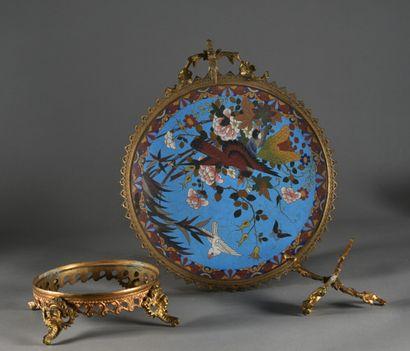 JAPON - Période MEIJI (1868-1912)  Coupe en émaux cloisonnés à décor d'oiseaux et...