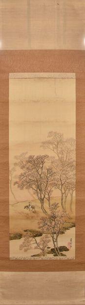 JAPON - XXe siècle  Aquarelle sur tissu figurant...