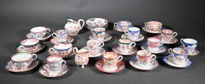 SARREGUEMINES  Polychrome porcelain set including:...