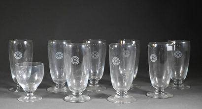 DAUM pour la Compagnie Générale Transatlantique  Huit verres à eau et un verre à...