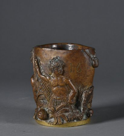 Bronze brush holder with brown patina, decorated...