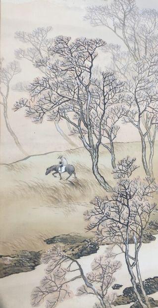 JAPON - XXe siècle  Aquarelle sur tissu figurant un homme sur sa mule dans un champ,...